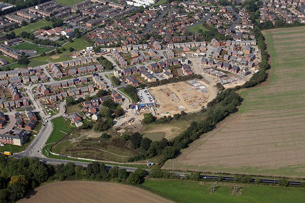 Aerial view of housing development. Photograph: A.P.S. (UK)/Alamy Stock Photo