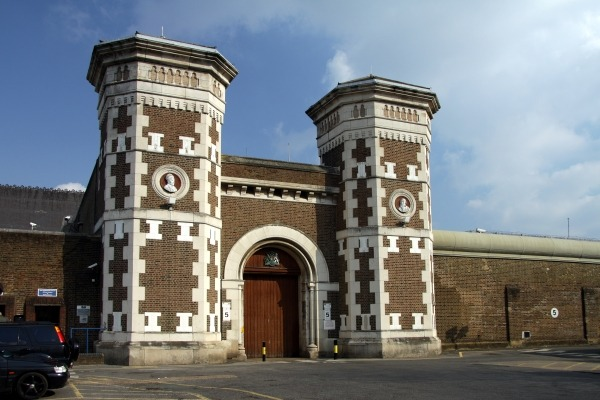 The entrance gate to Wormwood Scrubs prison
