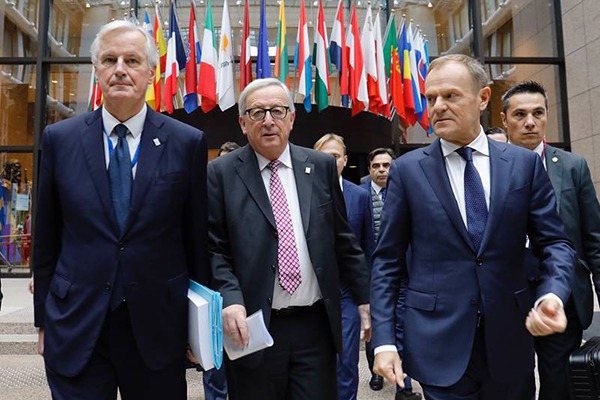 Michel Barnier, Jean-Claude Juncker and Donald Tusk