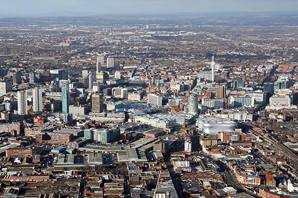 Aerial view of Birmingham