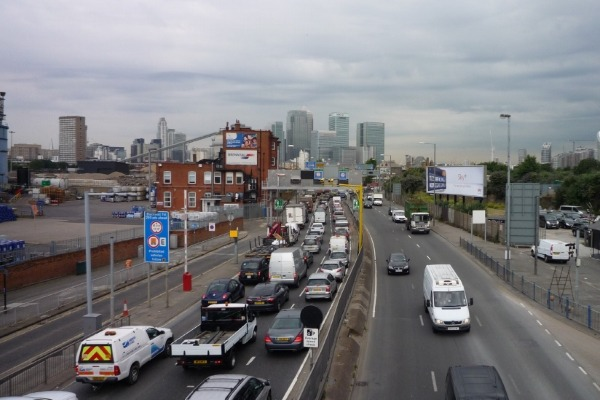 Congestion at the southern approach to the Blackwall Tunnel