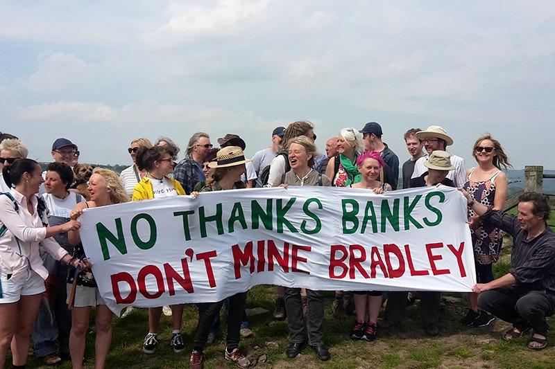 Demonstrators at Bradley site