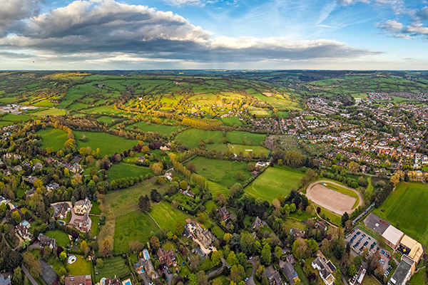 Aerial view of rural Cotswolds landscape