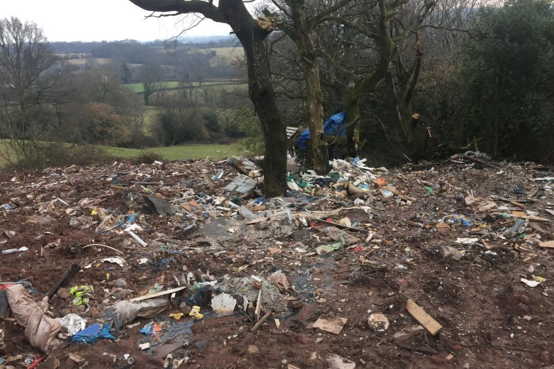 Some of the waste dumped at Castle Lodge Farm, Henllys