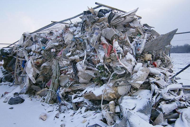 Waste dumped in snow
