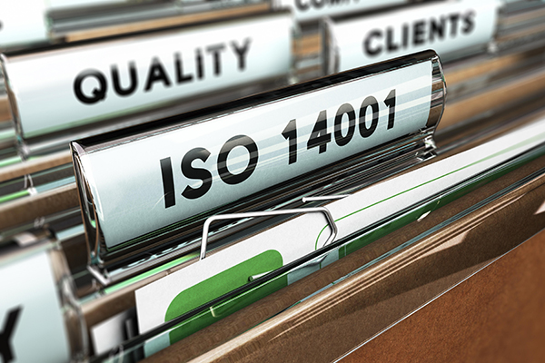 Files in cabinet labelled ISO14001
