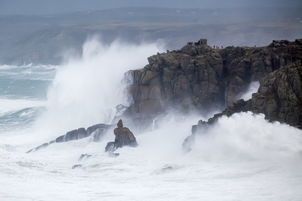 Waves crashing against Land's End