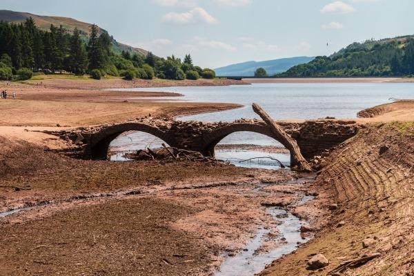 Bridge exposed in drought-stricken reservoir
