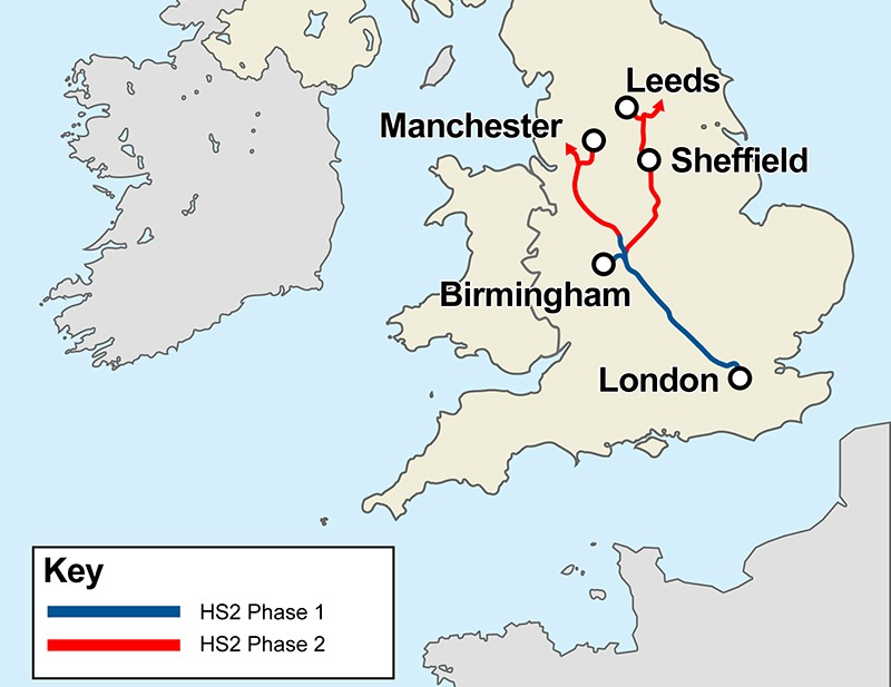 High speed rail map (with key)