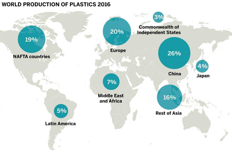 Map of world plastic production 2016