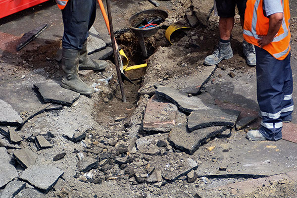 Road surface being dug up