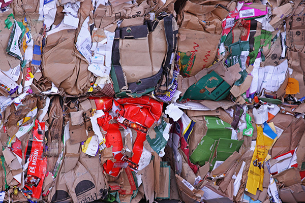 Cardboard packaging baled for recycling