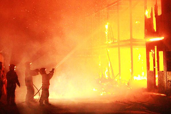 Firefighters battling a fire