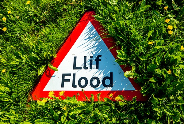 Welsh flood warning sign