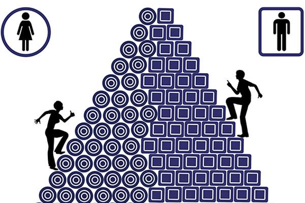 Illustration of man and woman climbing a pyramid