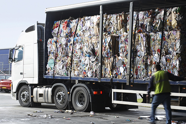 Bales of recycled paper on lorry