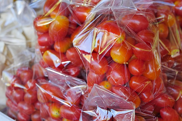 Tomatoes wrapped in plastic