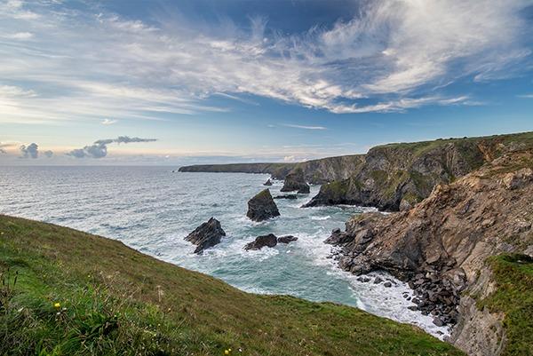 Sea landscape of Bedruthan Steps on Cornwall coastline, England