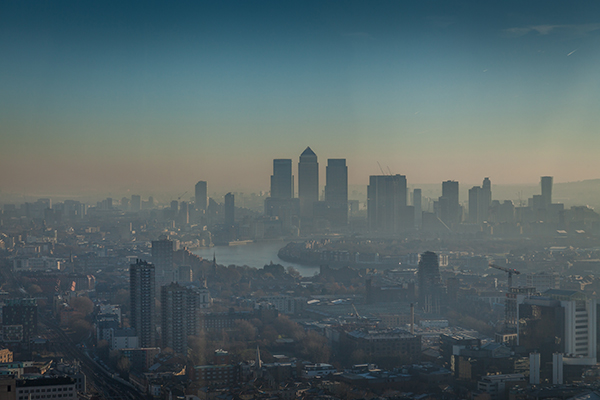 Smoggy London City skyline