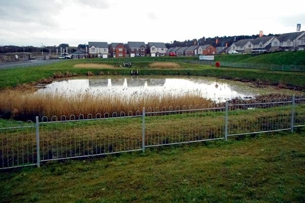 Sustainable drainage pond near housing development