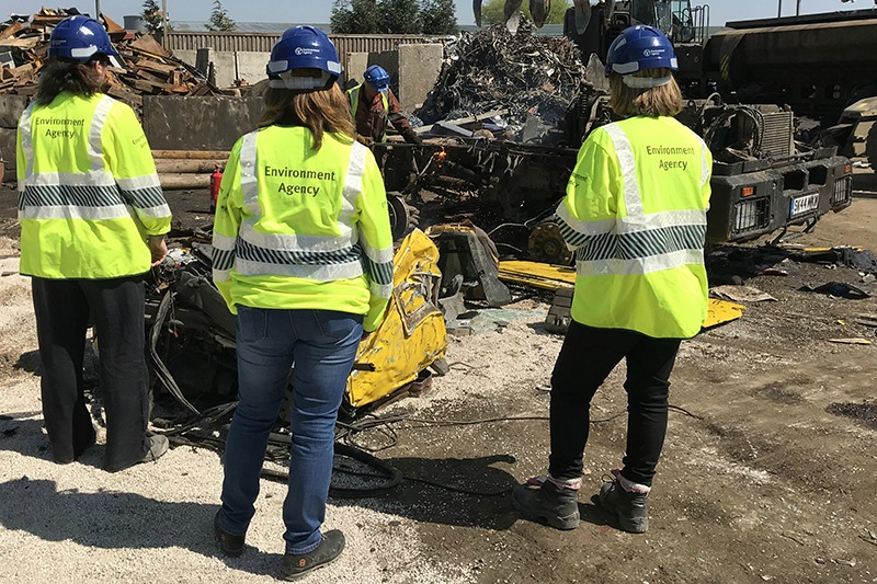 Environment Agency officers investigating waste dump