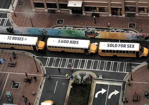 photo of the Stop Traffick campaign school buses